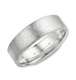 Crown Ring 10K White Gold (7mm) Diamond Brushed Finish Mens Wedding Band