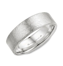 White Gold (7mm) Diamond Brushed Top Mens Wedding Band