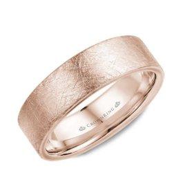 Crown Ring 10K Rose Gold (7mm) Diamond Brushed Finish Mens Wedding Band
