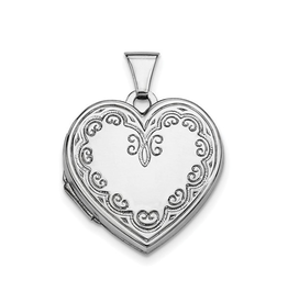 Sterlings Silver Fancy Heart Locket Rhodium Plated