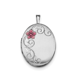 Silver Rhodium Plated Enameled Flower Oval Locket