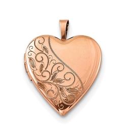 Sterling Silver Rose Gold Plated Heart Locket Pendant