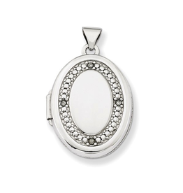 White Gold Diamond Oval Two Picture Frame Locket
