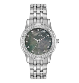 Citizen Citizen Silhouette Crystal Ladies Eco Drive Silver Tone Grey Mother of Pearl Dial Watch
