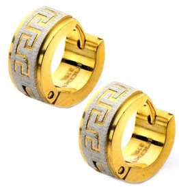 Gold Plated Stainless Steel Greek Key Huggie Hoop Earrings