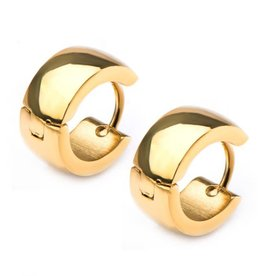 Inox Gold Plated Stainless Steel Huggie Hoop Earrings