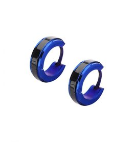 Inox Inox Stainless Steel Two Tone 3.5mm Black and Blue Plated Huggie Earrings