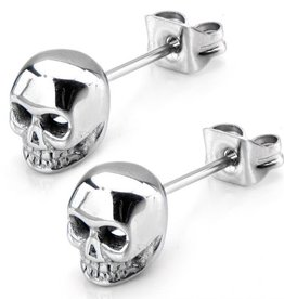 Inox Inox Stainless Steel Polished Skull Stud Earrings