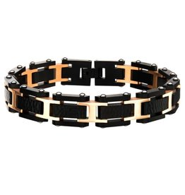 Inox Stainless Steel Black and Rose Gold Plated Hammered Link Bracelet