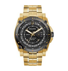 Bulova Bulova Precisionist Mens Gold Stainless Steel Watch With Black Tone & Diamonds