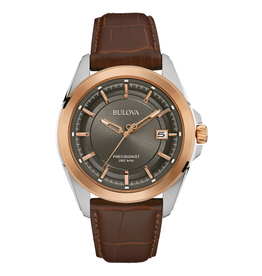 Bulova Bulova Precisionist Mens Brown Leather Watch With Black Dial & Date
