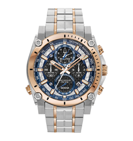 Bulova Bulova Precisionist Mens Stainless Steel Watch With Rose Ion plating & Chronograph