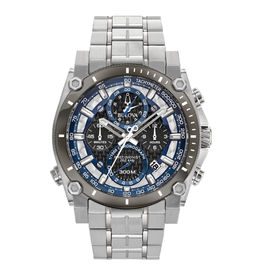 Bulova Bulova Precisionist Mens Stainless Steel Watch With Blue Dial & Chronograph