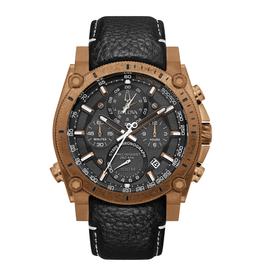 Bulova Bulova Precisionist Mens Black Leather Watch With Bronze Dial & Chronograph