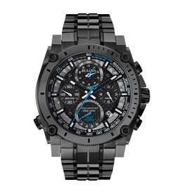Bulova Bulova Precisionist Mens Black Stainless Steel Watch With Blue Hands & Chronograph