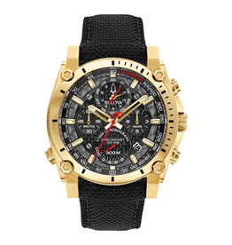 Bulova Bulova Precisionist Mens Stainless Steel Watch With Gold Ion Plating