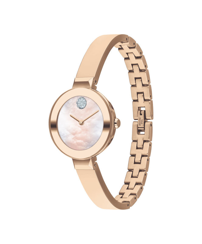 Movado Movado Ladies Bold Bangle Watch with Rose Tone and Crystal Set Dot