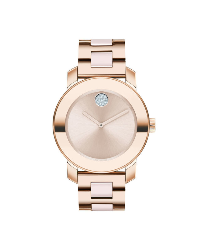 Movado Movado Ladies Bold Steel & Ceramic Watch with Rose Tone and Crystal Set Dot