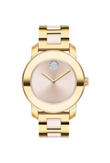 Movado Movado Ladies Bold Steel & Ceramic Watch with Gold Tone and Crystal Set Dot