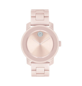Movado Movado Ladies Bold Pink Ceramic Watch with Crystal Set Dot
