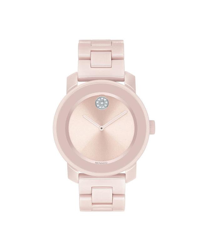 Movado Movado Ladies Bold Pink Ceramic Watch with Crystal Set Dot