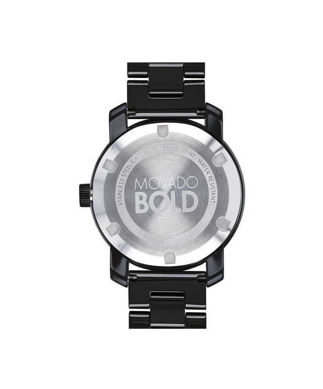 Movado Movado Ladies Bold Black Ceramic Watch with Crystal Set Dot