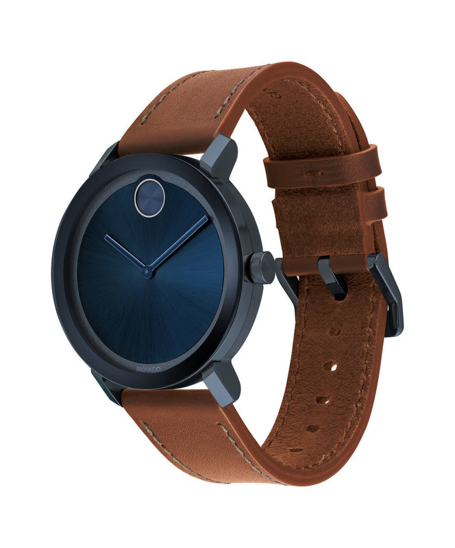 Movado Movado BOLD Evolution Brown Leather Watch with Blue Dial.