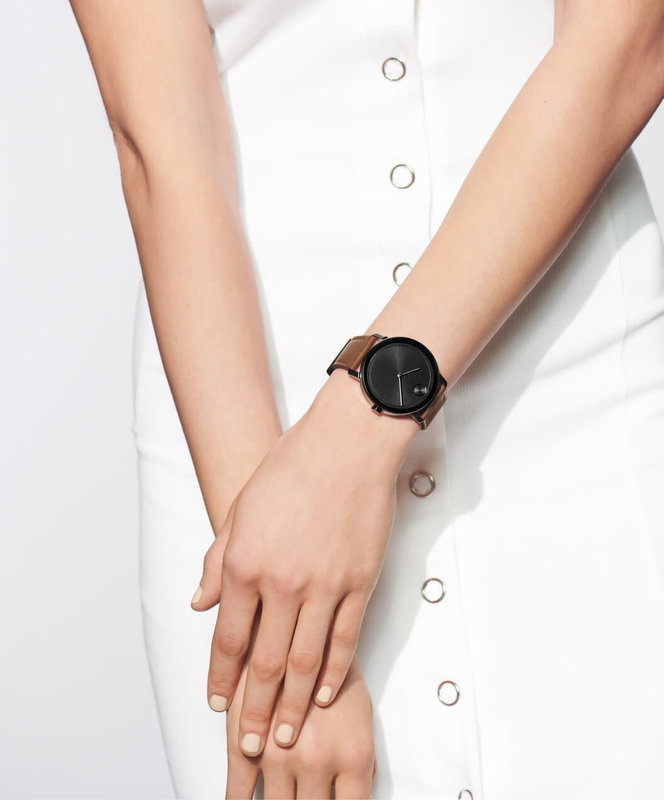 Movado Movado BOLD Evolution Brown Leather Watch with Black Dial.