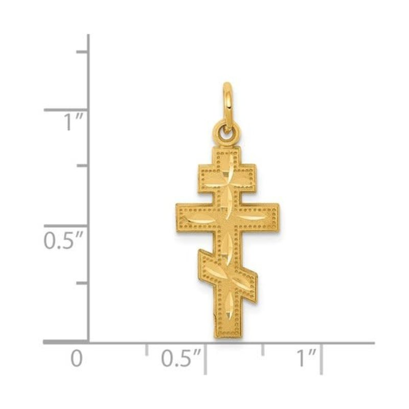 Yellow Gold Eastern Orthodox Religious Cross Pendant