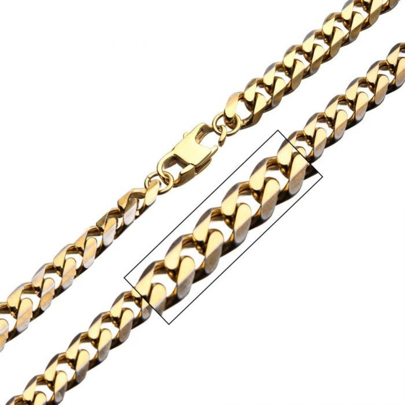 """Inox Stainless Steel Gold Plated (8mm) Curb Link Chain 22"""""""