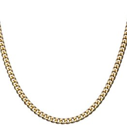 Inox Stainless Steel Gold Plated (8mm) Curb Link Chain 22""