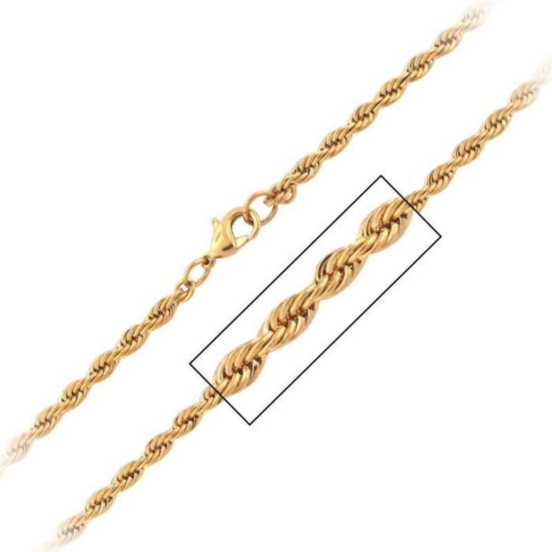 """Inox Stainless Steel Gold Plated (3.7mm) French Rope Chain 30"""""""