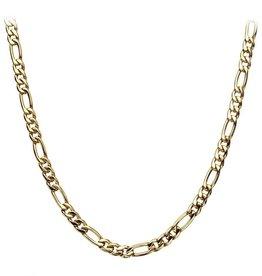 Inox Inox Stainless Steel 18K Gold Plated 6mm Figaro Chain