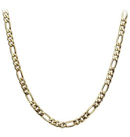 Inox Stainless Steel Gold Plated (6mm) Figaro Chain 24""