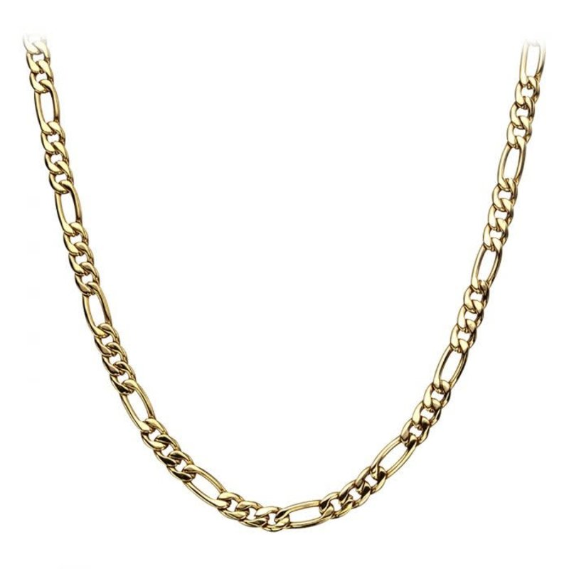 """Inox Stainless Steel Gold Plated (6mm) Figaro Chain 24"""""""