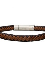 Inox Dark and Light Brown Leather Bracelet with Stainless Steel Clasp