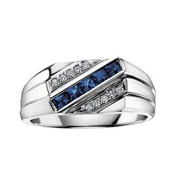 10K White Gold Blue Sapphire and Diamond Mens Ring