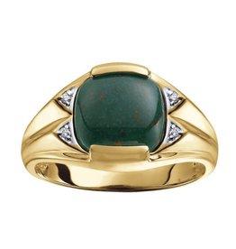 10K Yellow Gold Bloodstone and Diamonds Men's Ring