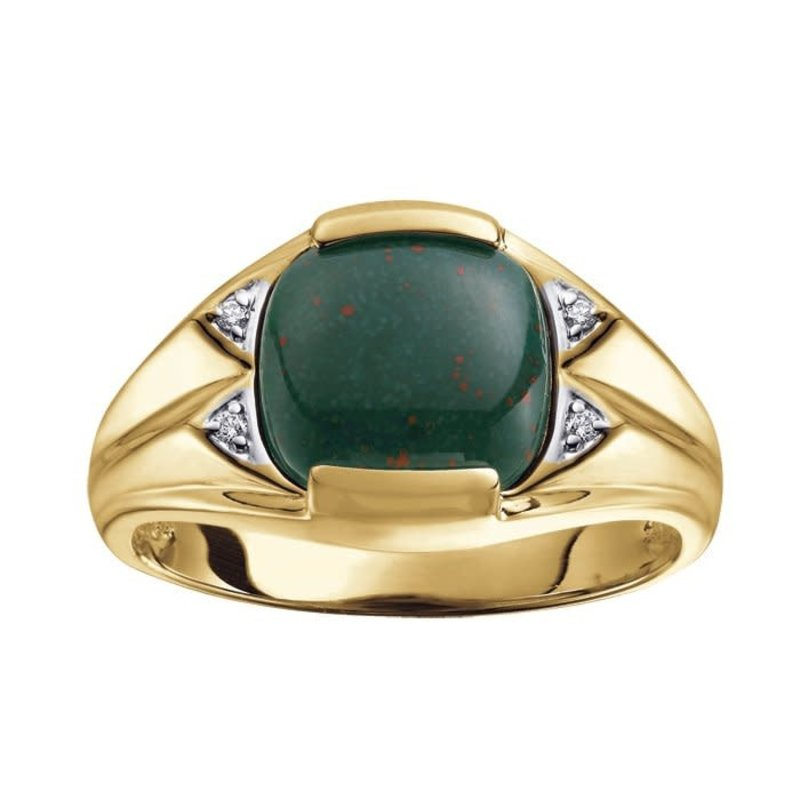 Yellow Gold Bloodstone and Diamond Mens Ring