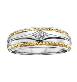 Maple Leaf Diamonds White and Yellow Gold (0.06ct) Canadian Diamond Mens Ring
