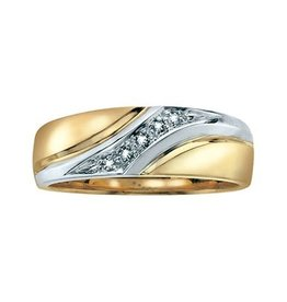10K Two Tone Yellow and White Gold (0.05ct) Diamond Men's Band