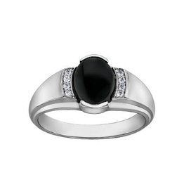 10K White Gold Oval Onyx and Diamonds Men's Ring