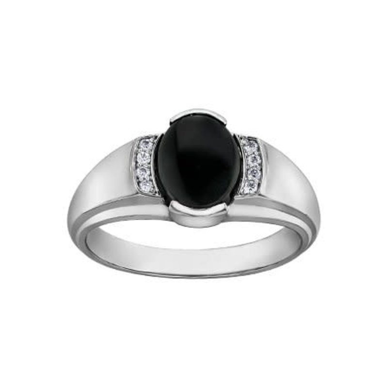 10K White Gold Oval Onyx and Diamonds Men's Ring