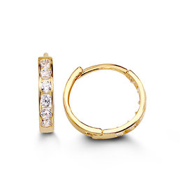 Yellow Gold (11mm) Channel Set CZ Hoop Earrings