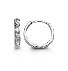 White Gold (11mm) Channel Set CZ Hoop Earrings