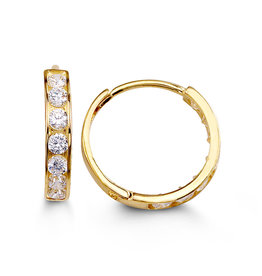 Yellow Gold (13mm) Channel Set CZ Hoop Earrings