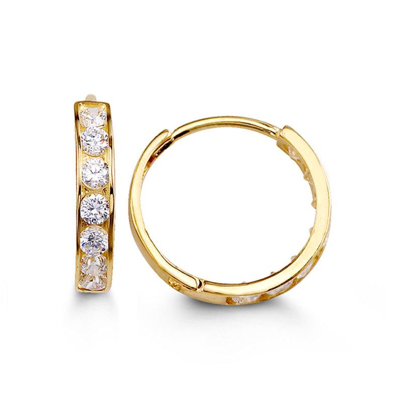 Yellow Gold (13mm) Channel Set CZ Hoop Earrings