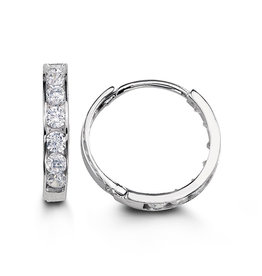 10K White Gold (13mm) Channel Set CZ Hoop Earrings