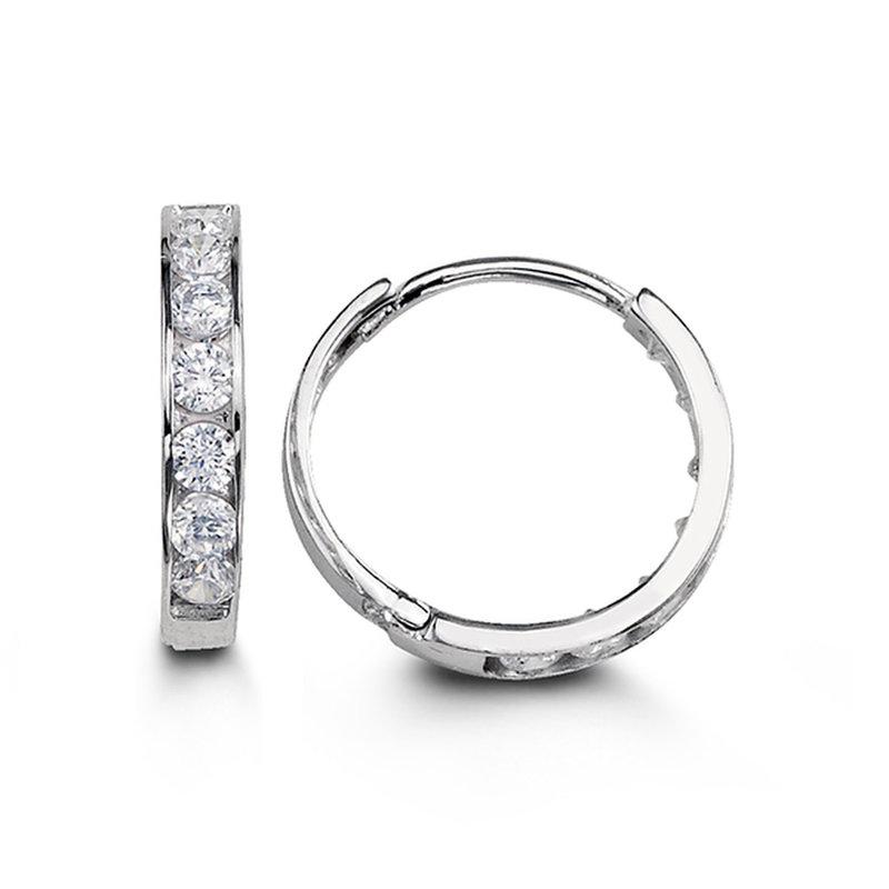 White Gold (13mm) Channel Set CZ Hoop Earrings