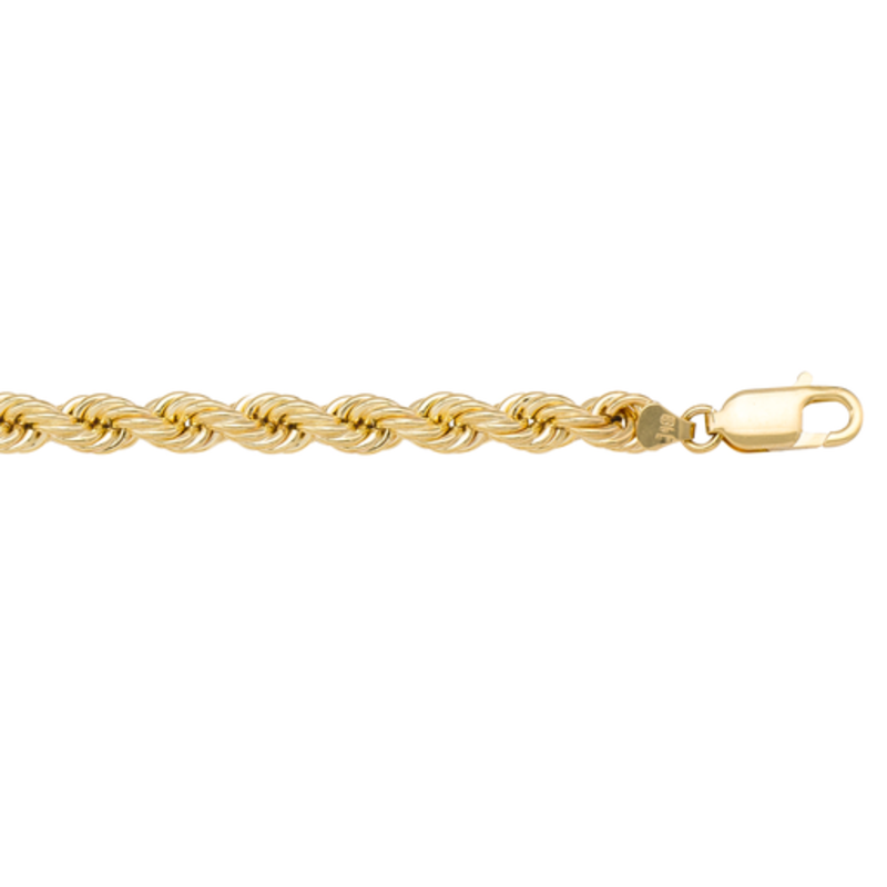 Yellow Gold (22 - 26in) Hollow 5.5mm Rope Chain